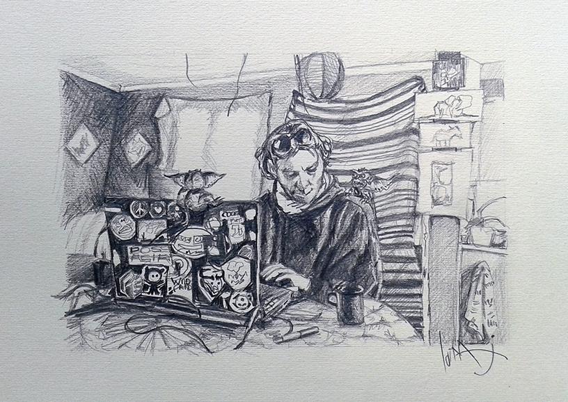 boy at computer pencil drawing