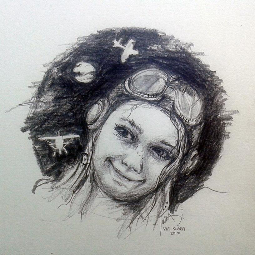 girl pilot illustration