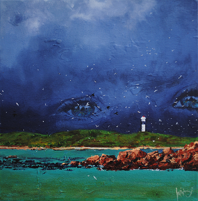 Hangklip lighthouse storm painting