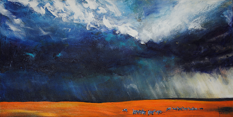acrylic landscape painting - storm over Africa