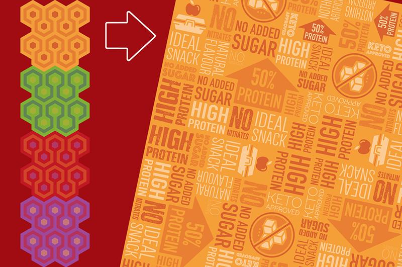 postoasties packaging - meat republic background pattern
