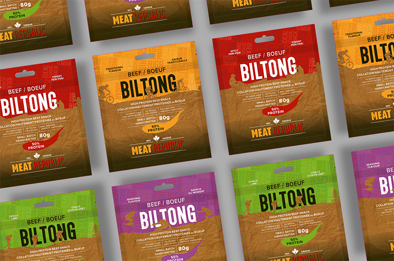 Meat Republic Biltong Packaging - 4 flavours