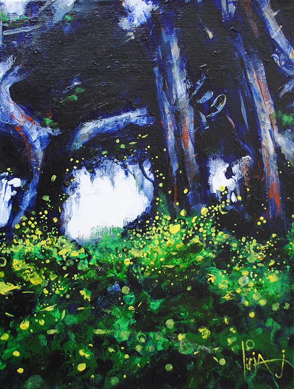 milkwood fireflies acrylic landscape