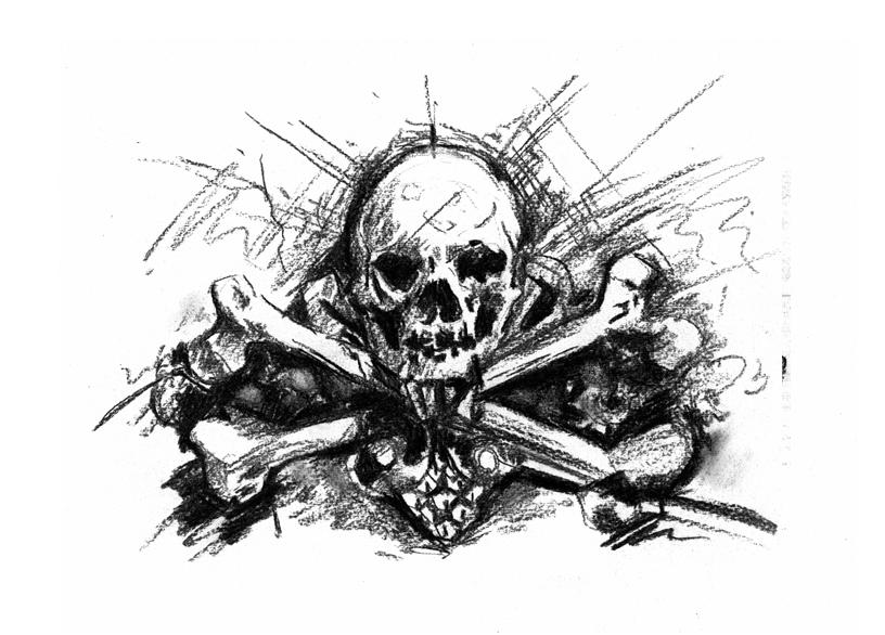 skull and cross bones charcoal